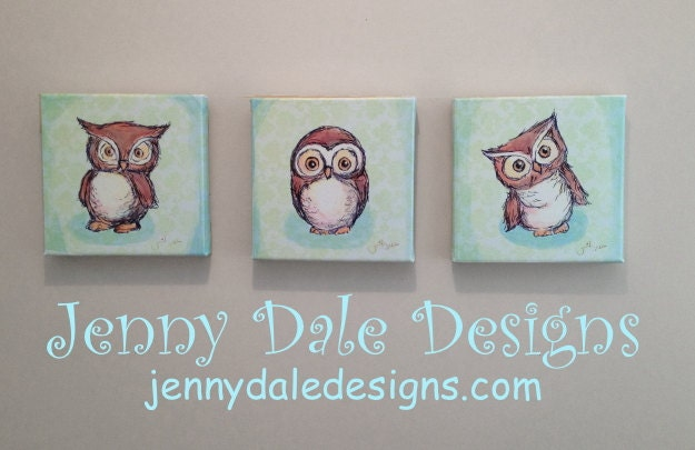 Art on Canvas: Owl Nursery Wall Art- Set of three 8x8, hand signed canvas prints - JennyDaleDesigns