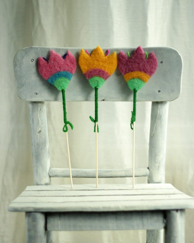 Spring Decoration - Set Of  ThreeFluffy Felted Flowers -  Needle Felted - Home Decoration - FeltArtByMariana