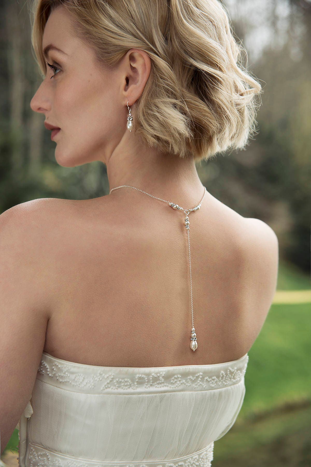 Pearl back drop necklace bridal necklace pearl bridal back drop necklace silver back drop bridal  Annika