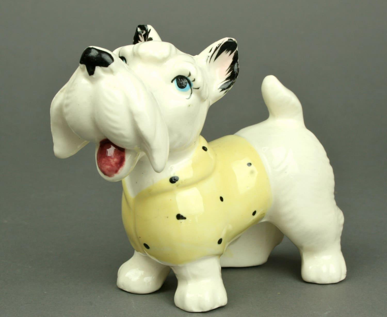 White Dog Blue Eyes Yellow Sweater - AuntHattiesAttic