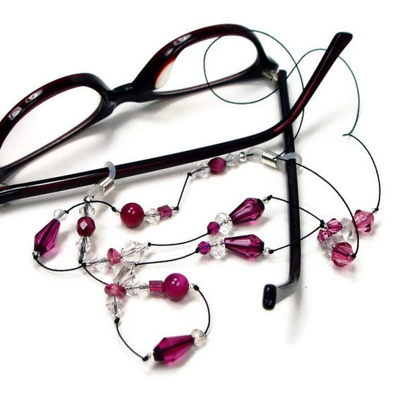 beaded eyeglass necklace reading glasses chain by tjbdesigns