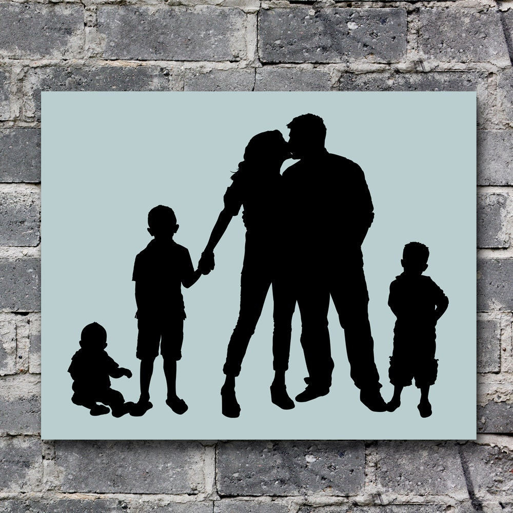 items similar to custom family portrait silhouette for 5