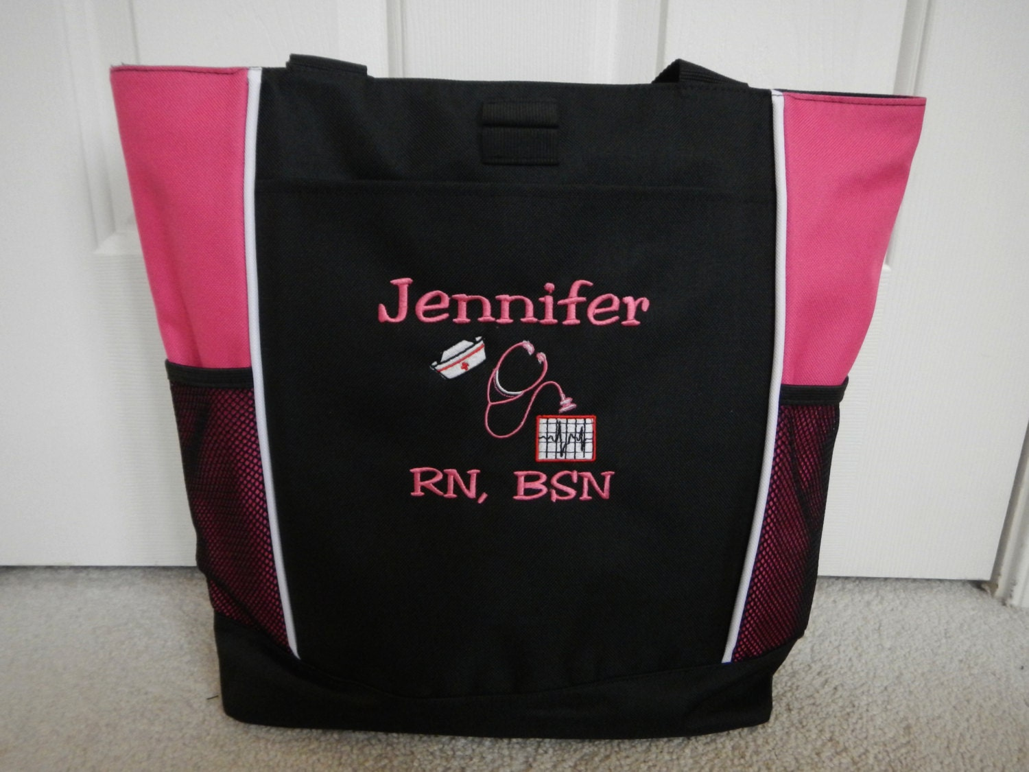 tote bag personalized hat nursing rn cna crn by