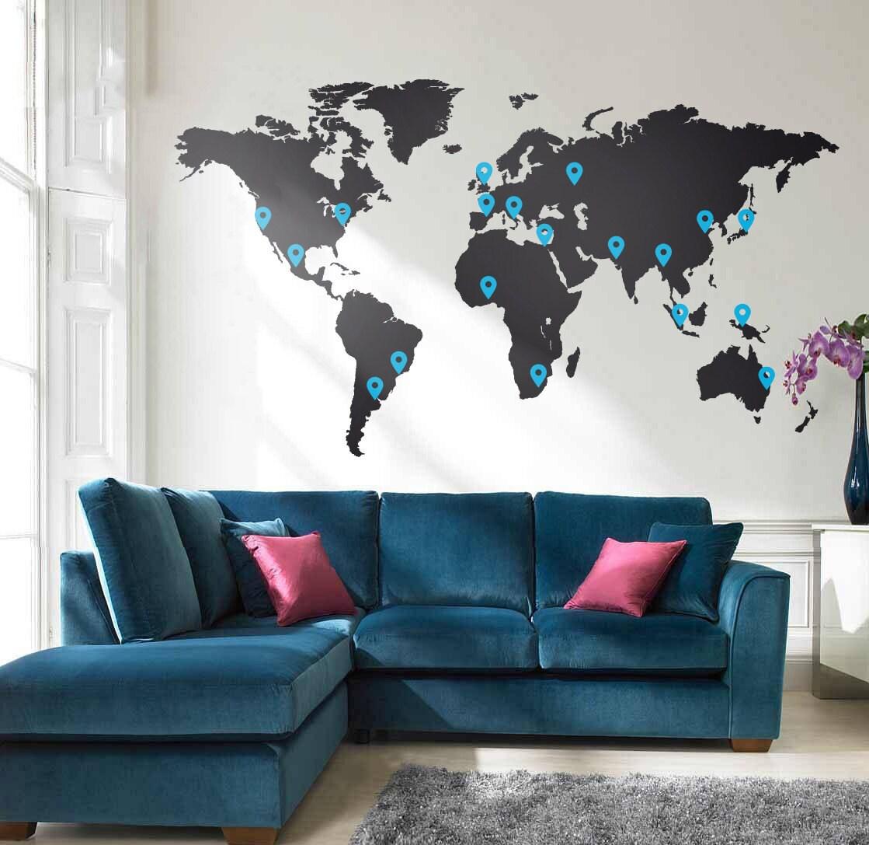 Grande Carte Du Monde Murale Vinyle Autocollant Par
