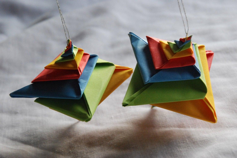 origami christmas ornaments. Black Bedroom Furniture Sets. Home Design Ideas