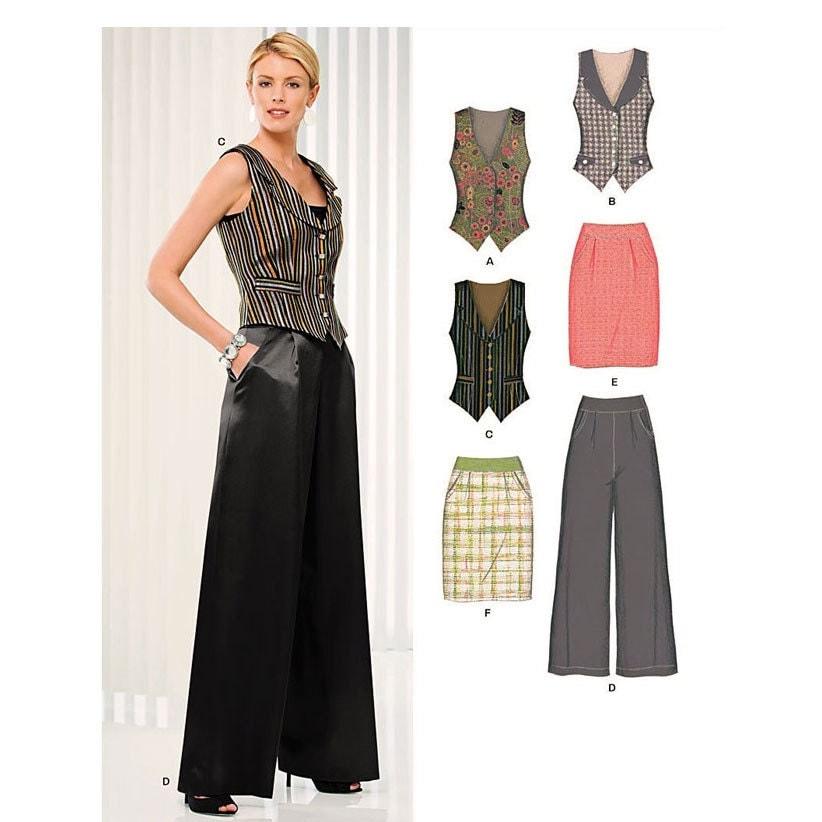 new look 6919 womens tuxedo vest skirt by finickypatternshop