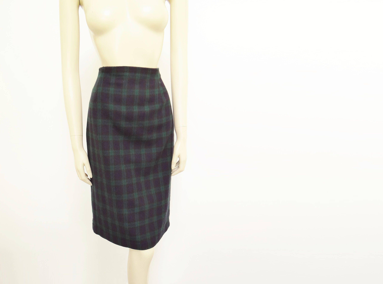 UK10 Vintage Skirt Pencil Skirt Secretary Skirt Wool Tartan Tartan Skirt Vintage Clothing
