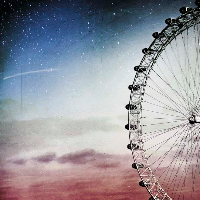 Ferris wheel print, blue nursery wall decor,  whimsical kids wall art, London, 8x8 photograph - Raceytay