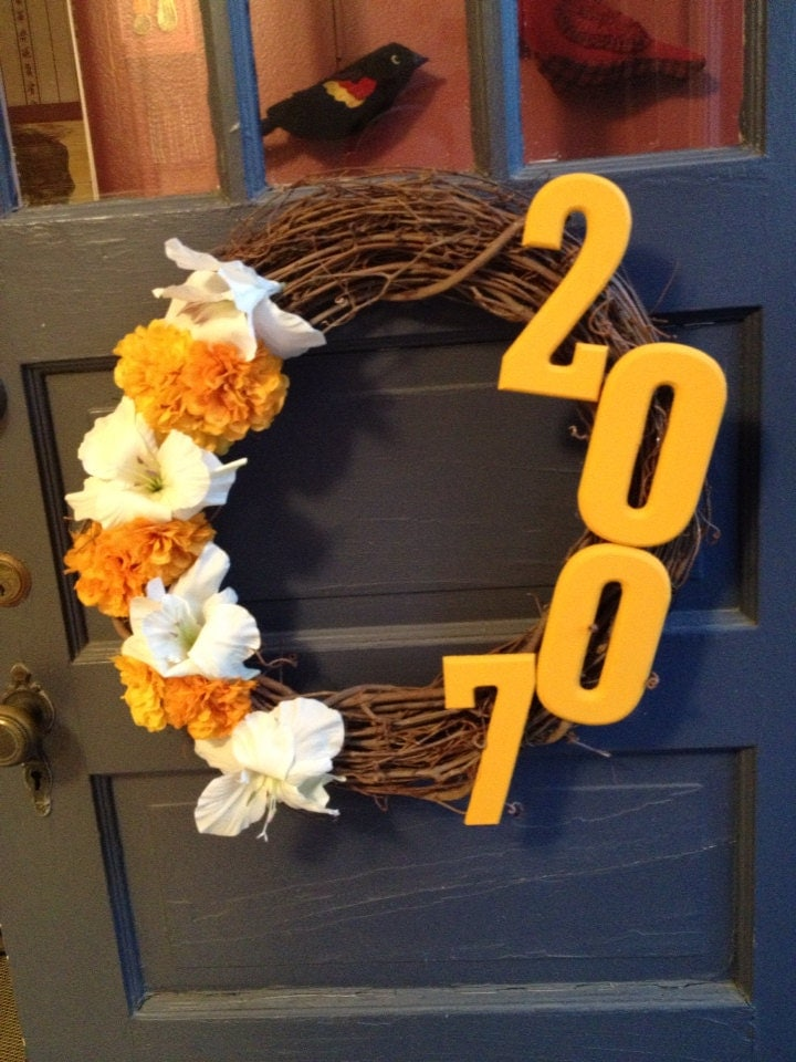Yellow Floral House Number Wreath