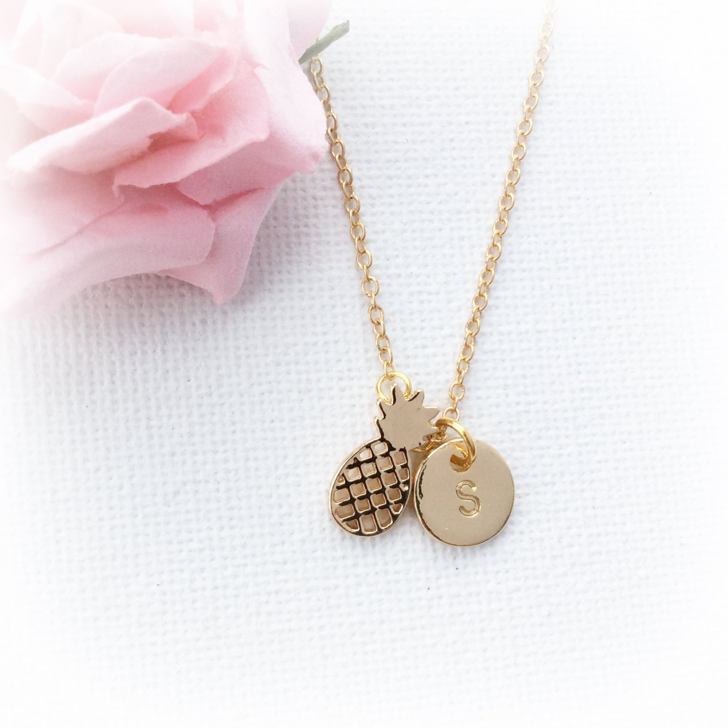 Gold pineapple Necklace pineapple necklace pineapple Jewellery boho jewellery beach jewellery pineapple personalized initial necklace