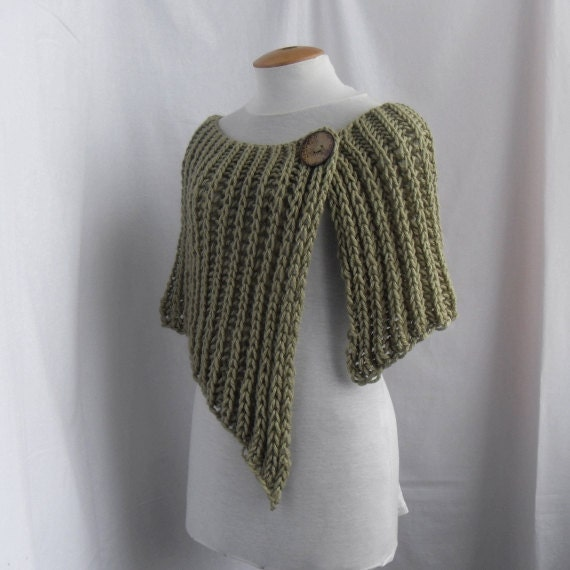 Knitted wrap poncho shawl with one button by vinevirak on Etsy