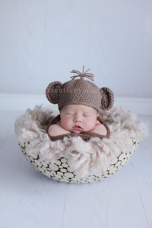 Free Crochet Pattern For Newborn Monkey Hat : Cuddly Monkey Hat Crochet Pattern Multiple Sizes by ...