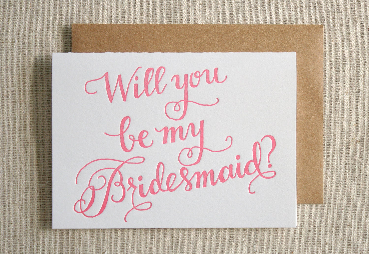 Bridesmaid Letterpress Card