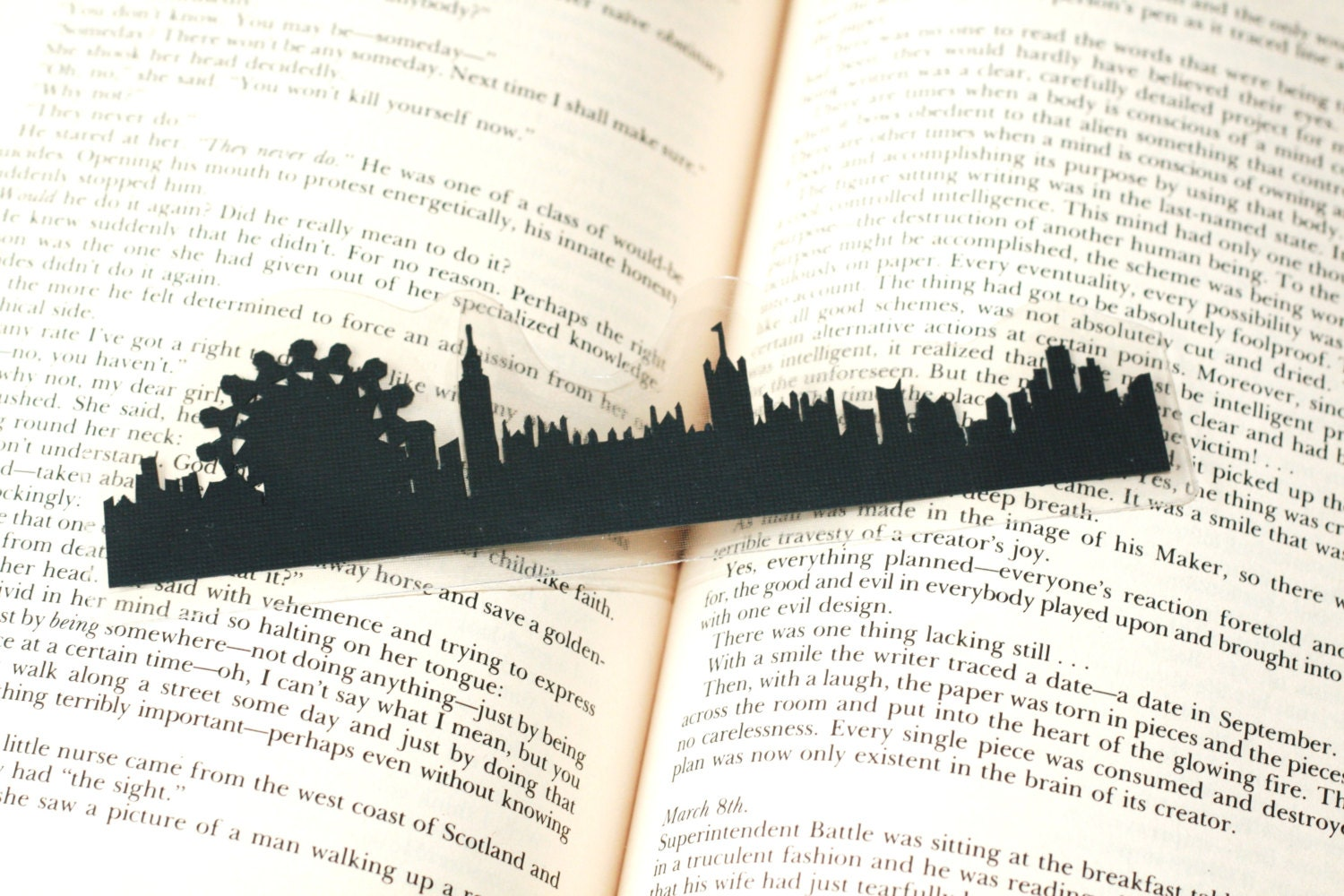 London, England Bookmark - Hand-cut Silhouette, Handmade Bookmark, Cut Paper Bookmark, London Skyline - GracefulDiligence