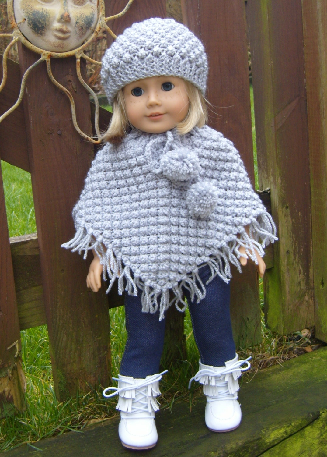 Knitting Pattern For Dolls Poncho : American Girl Doll. Blackberry Poncho Set PDF by jacknitss ...
