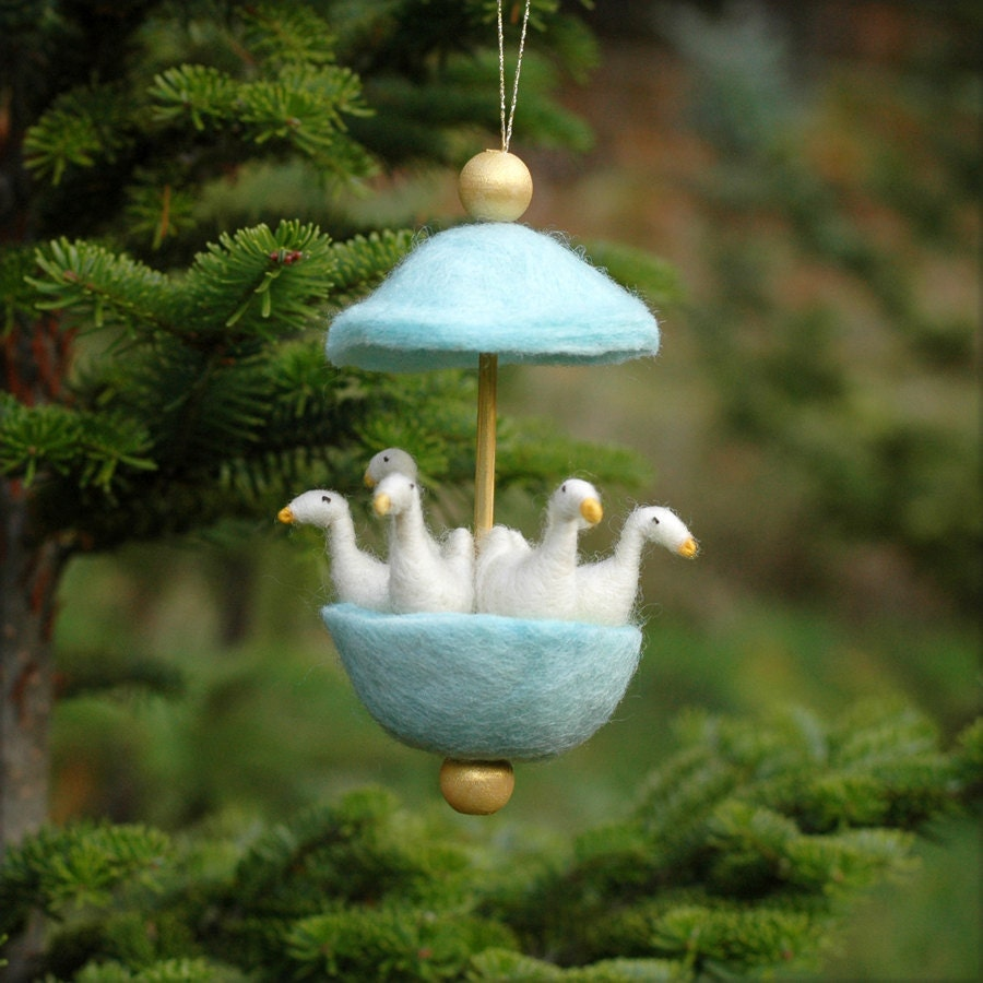 Six Geese a Laying - Needle Felted Twelve Days of Christmas Ornament