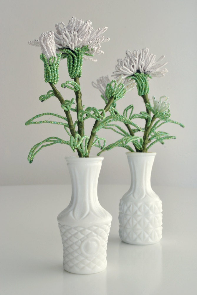 milk glass bud vases with glass beaded flowers by hunkydorky