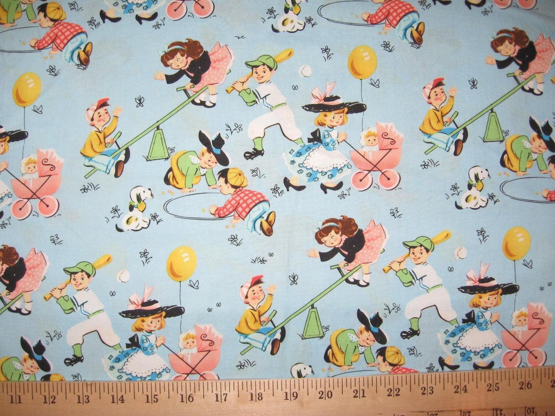 Retro children playing on blue fabric 1 yard by delishfabrics for Retro kids fabric