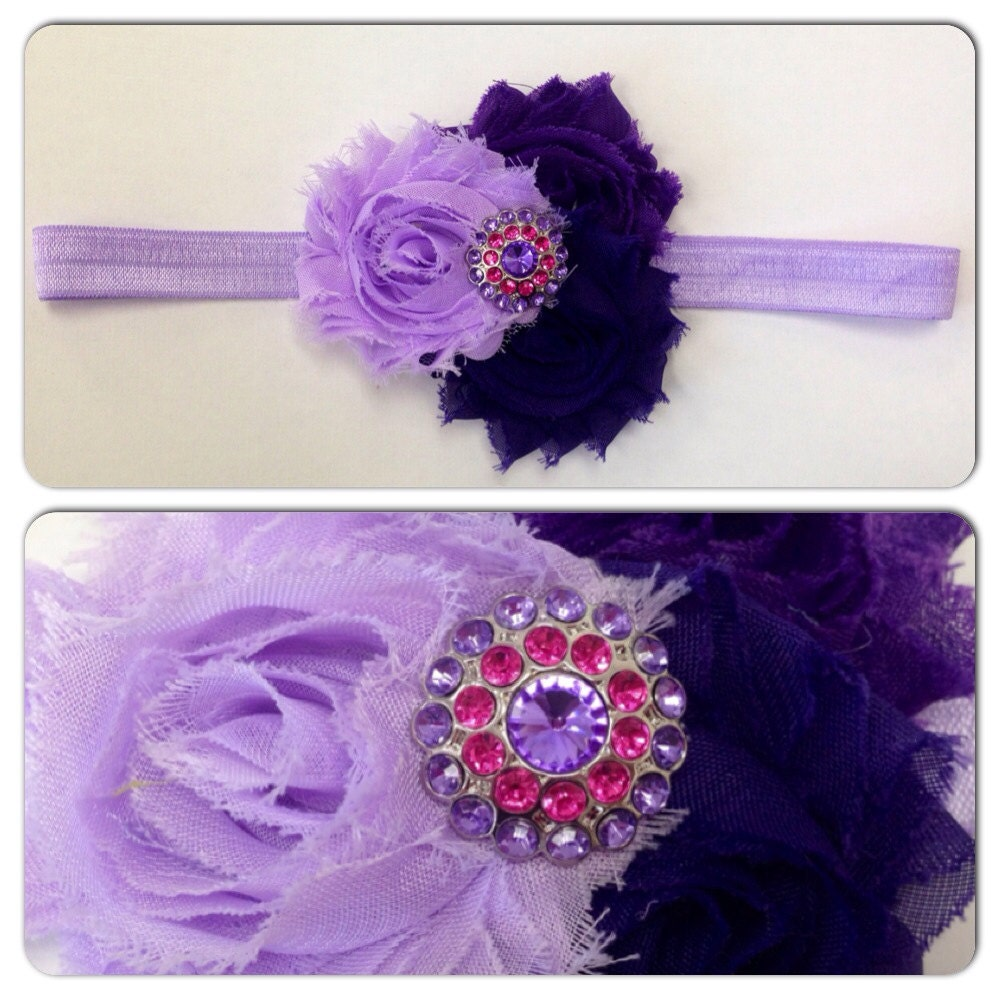Shabby Chic Headband Baby Headband Toddler Girl Flowers Bling Rhinestones Purple Pink Lilac One Size Elastic Holiday Birthday Photo Prop