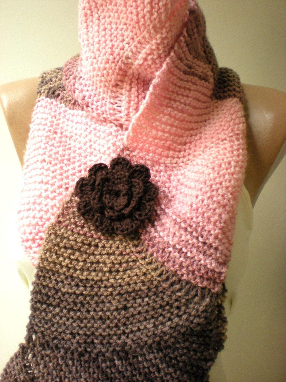Knitting Pattern Wavy Scarf : Wavy Hand Knit Knitting Scarf ScarflettePink by crochetbutterfly