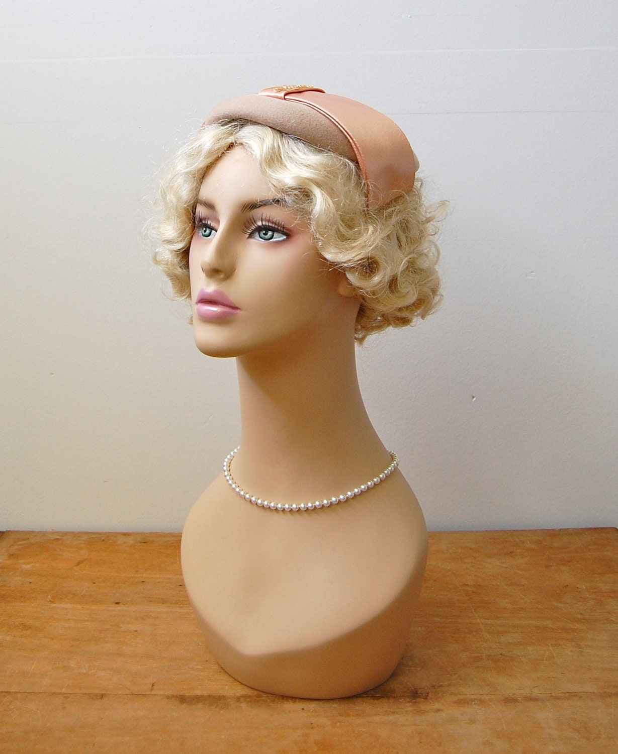 Vintage 1950s Hat - 50s Pink & Nude Cocktail Hat - The Leona