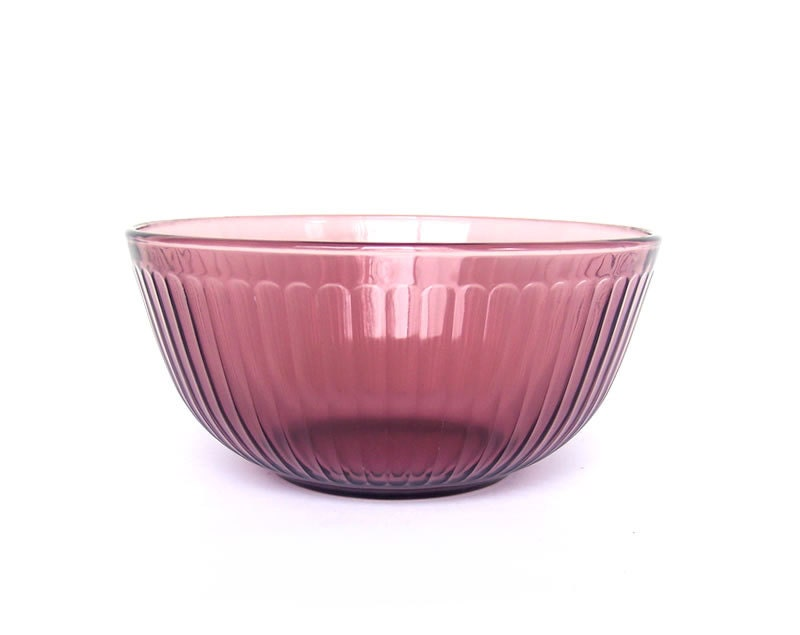 Vintage Cranberry Bowl Pyrex Ribbed Fluted By Stonesoupology