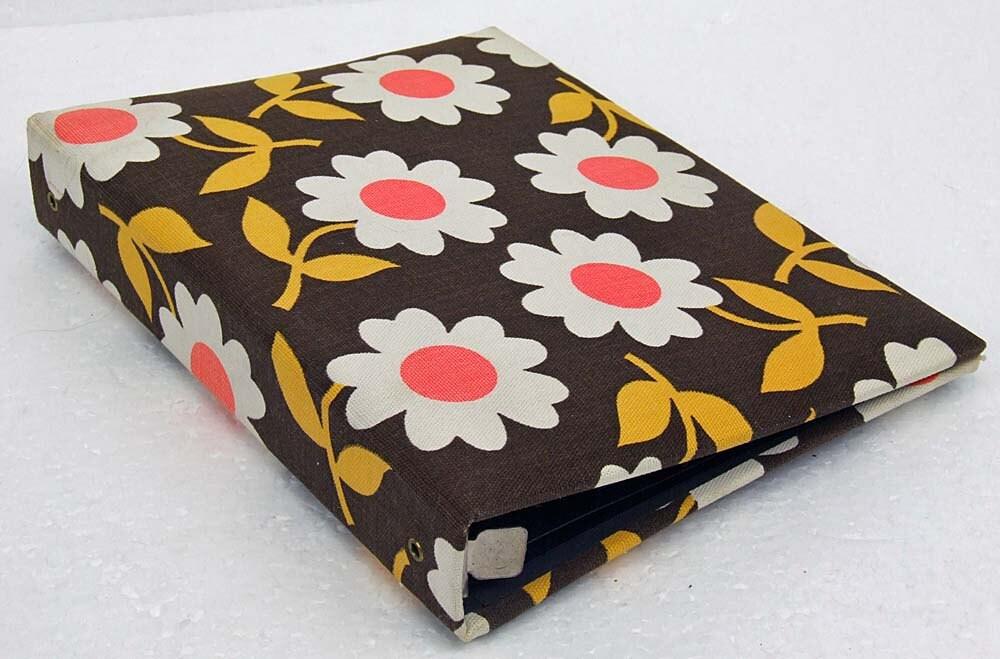 Vintage Groovy 1960s Flower Power Canvas Fabric Covered Photo Unused Photo Album Retro Daisy Orange White Gold Brown