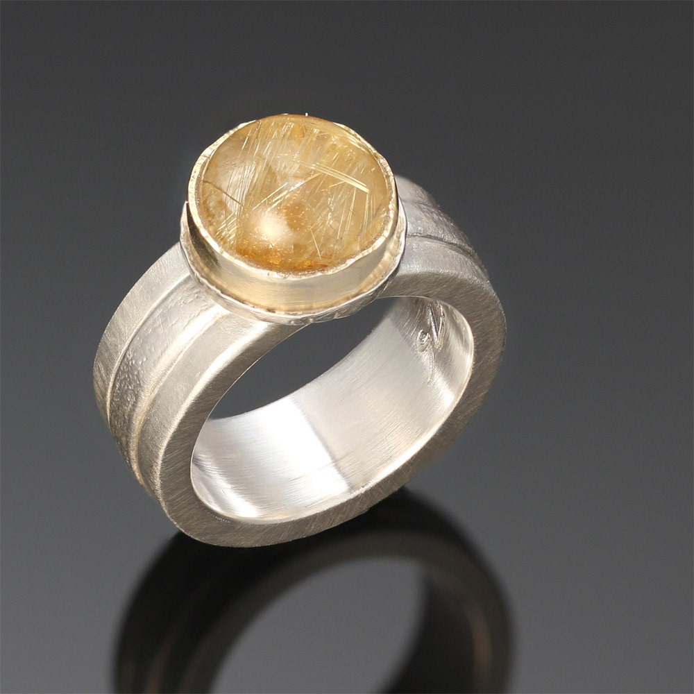 "Sterling Silver & 18k Gold, Rutilated Quartz Ring ""Shooting Stars Ring"" - SolarwindStudios"