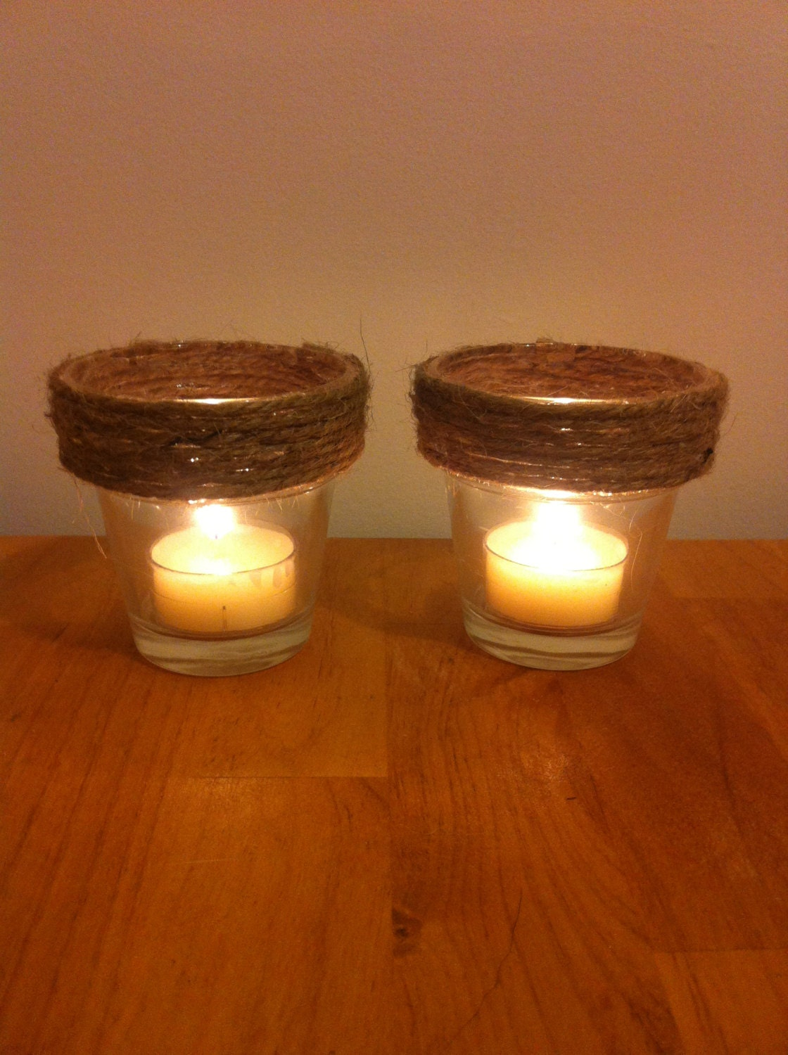 Rustic Glass  and Twine Candle  Holder - shelbyEyork