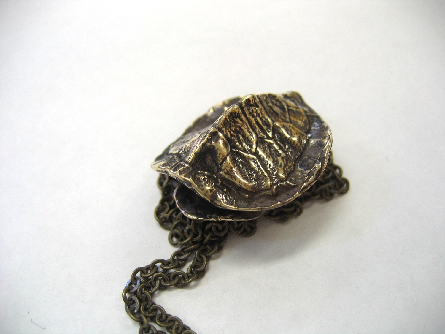 Bronze turtle shell pendant necklace 119 by mrd74 on etsy for Real tortoise shell jewelry