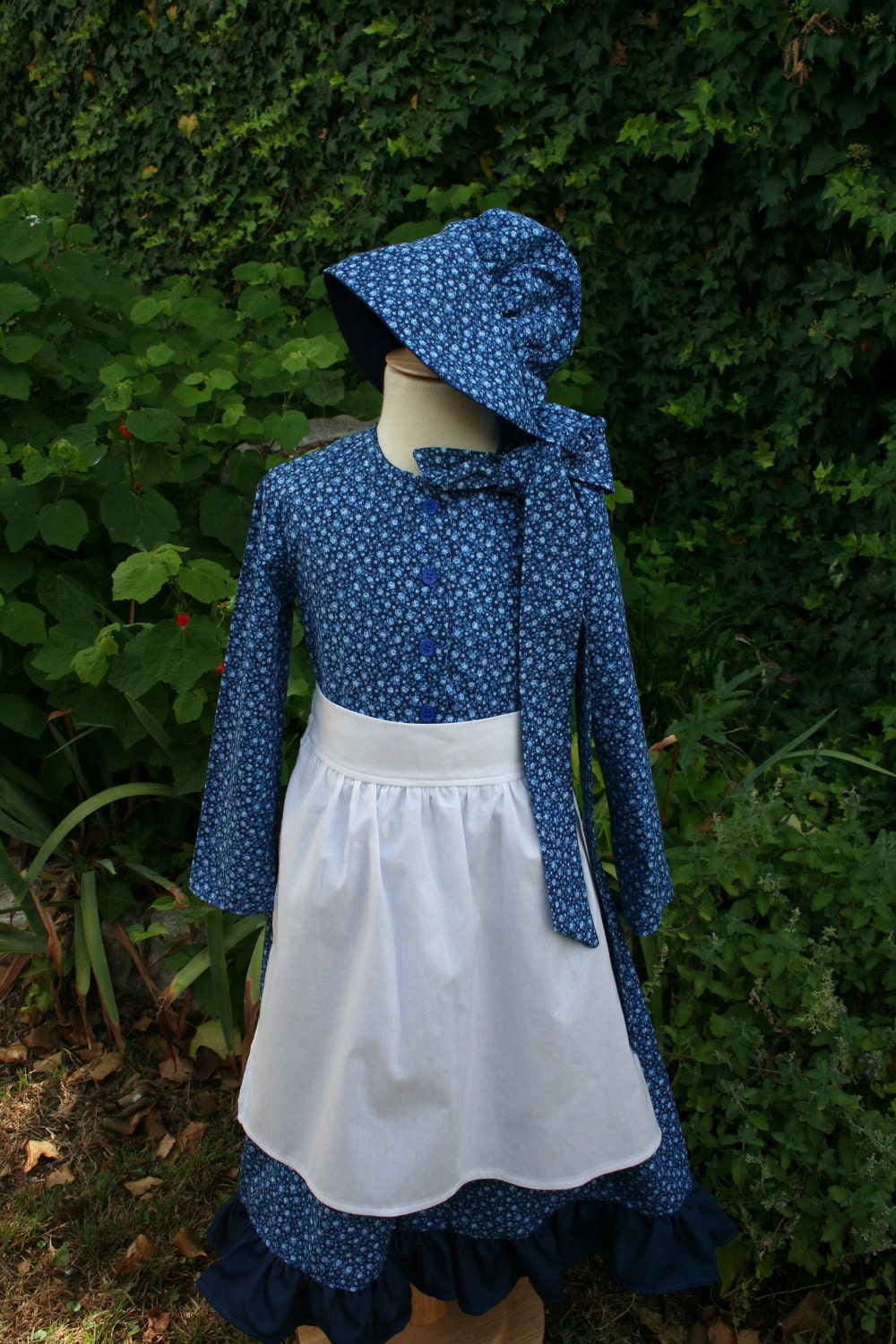 Little House on the prairie pioneer dress, apron, and bonnet
