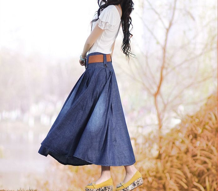 Denim dress/ Denim skirt / Jean dress/ Jean skirt / casual loose dress/ women long skirt / maxi dress - originalstyleshop