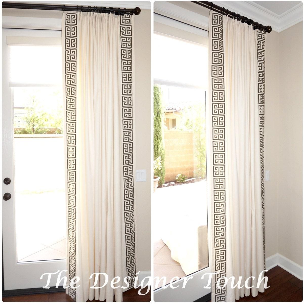 Greek key trim curtains