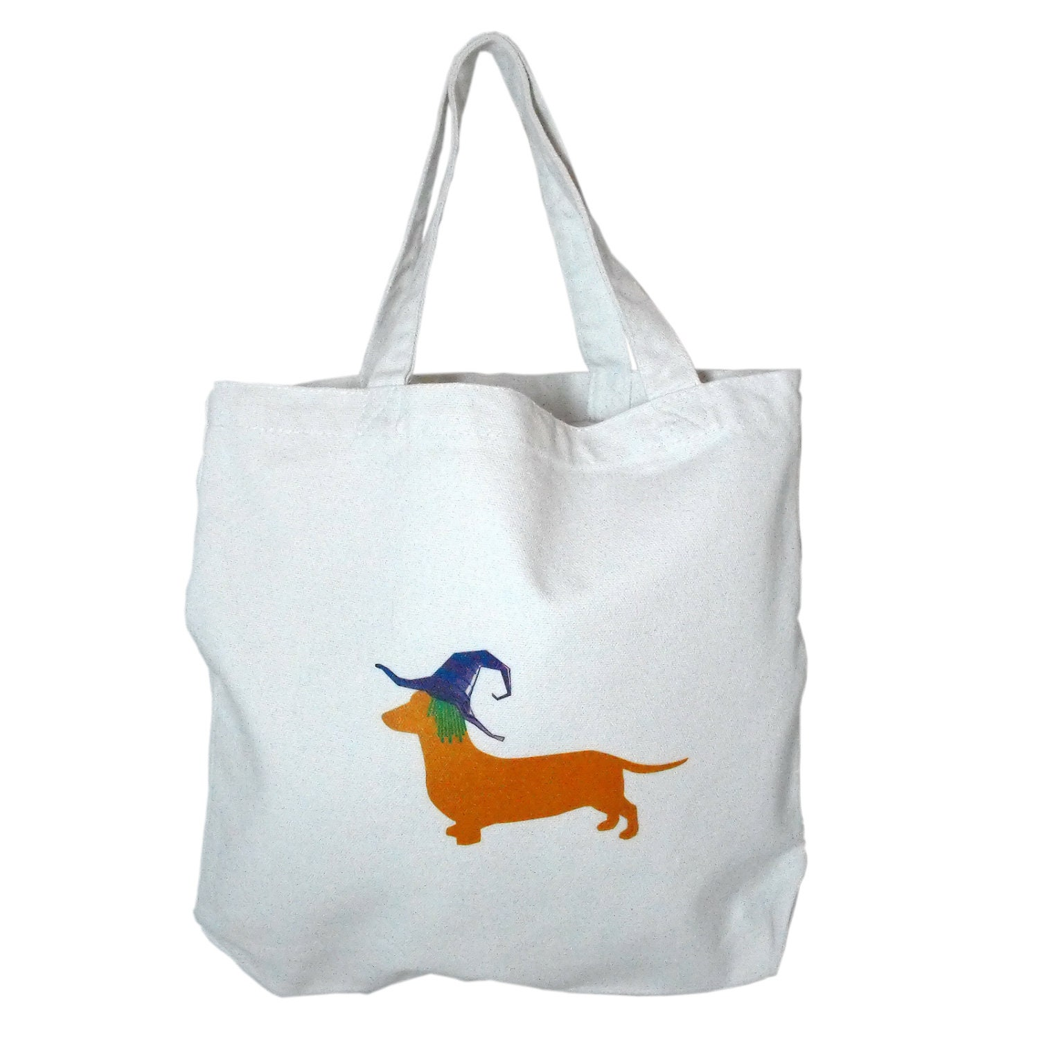 Dachshund Halloween Trick or Treat Bag with Witch Weiner Dog - doggydesign