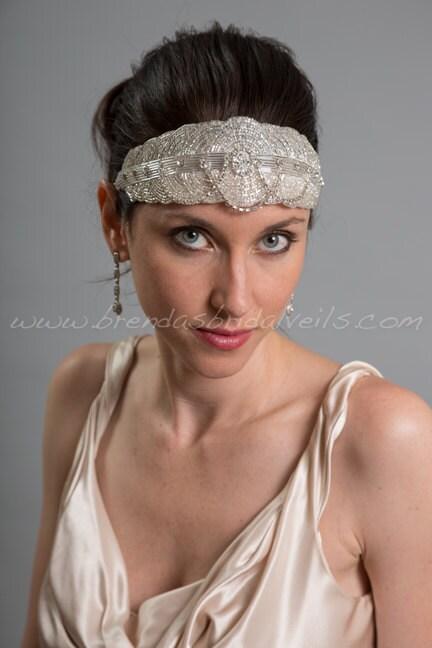 Rhinestone and Beaded Great Gatsby Headband 1920s Flapper Style Bridal Hairband Wedding Headband  Davina $84.95 AT vintagedancer.com