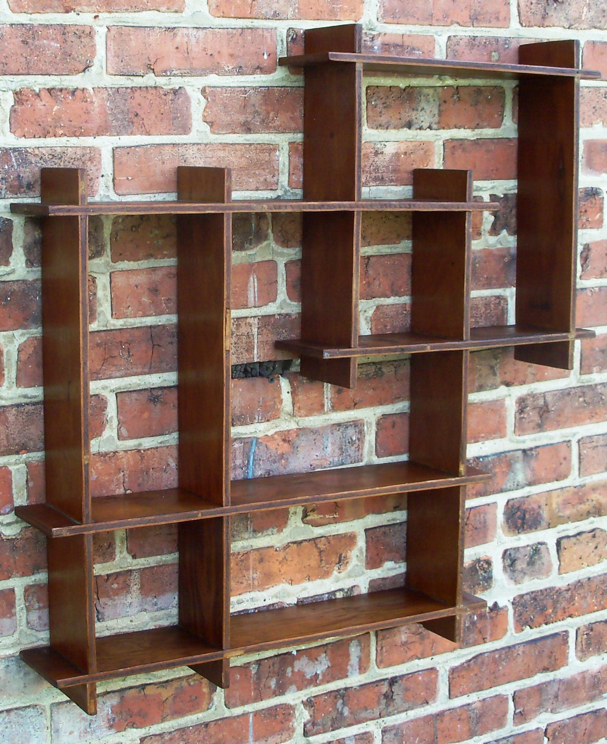 Vintage Wooden Shadow Box Wall Shelf Abstract By