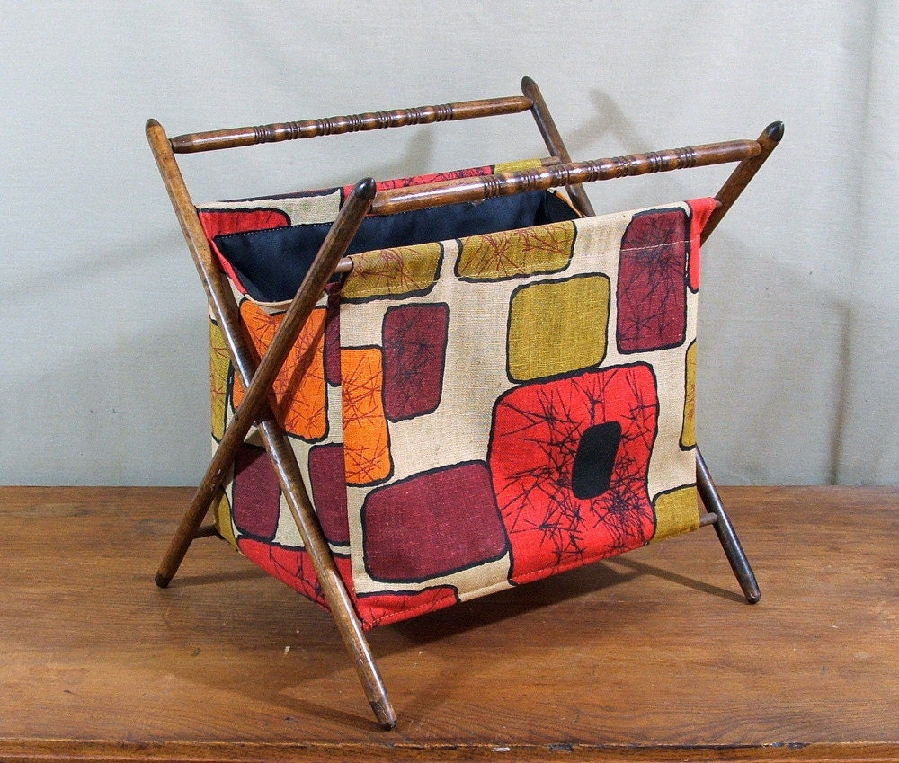 Knitting Bag Stand : Vintage knitting bag stand folding portable mod by