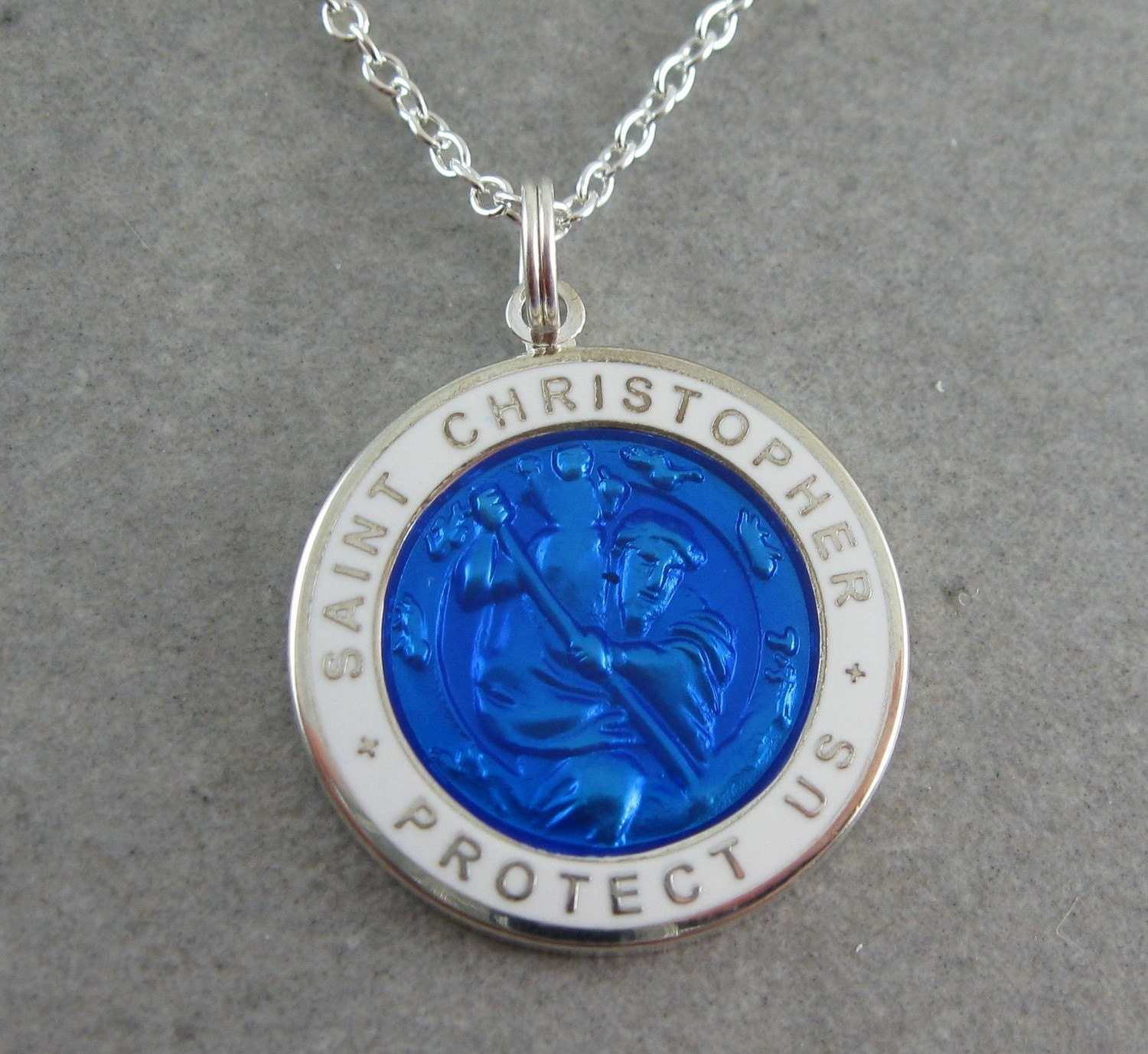 Large St Christopher Necklace Royal Blue W White By