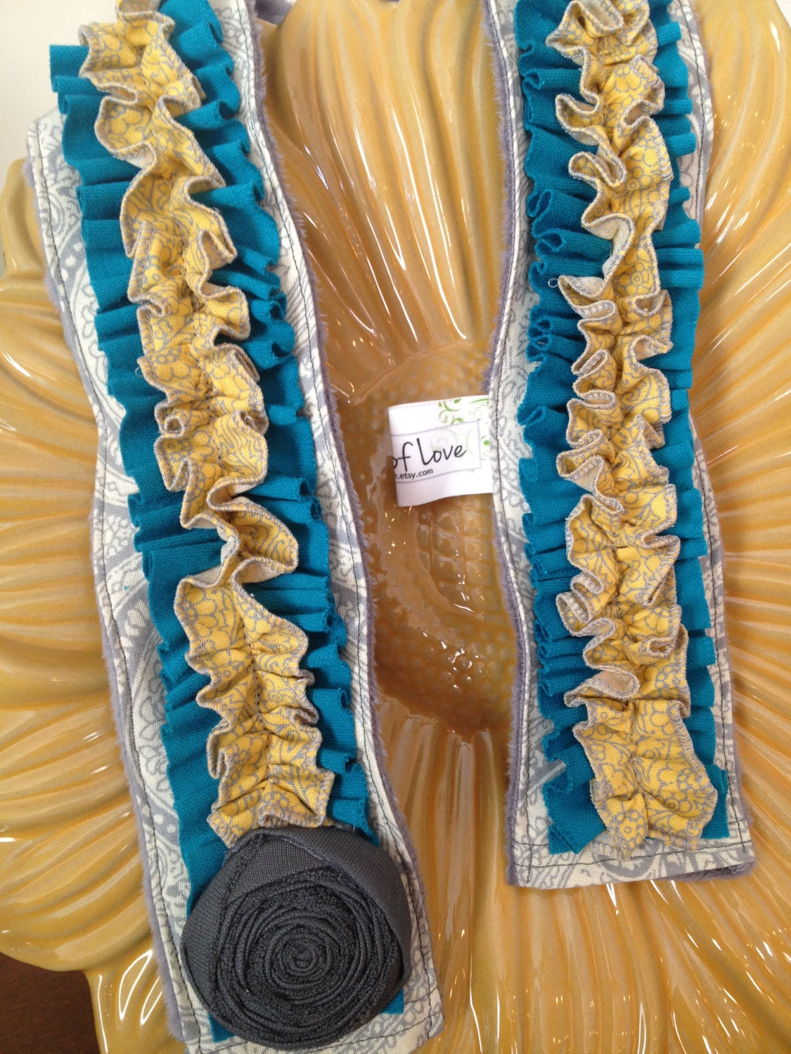 Ruffled Camera Strap Cover - Teal/Yellow