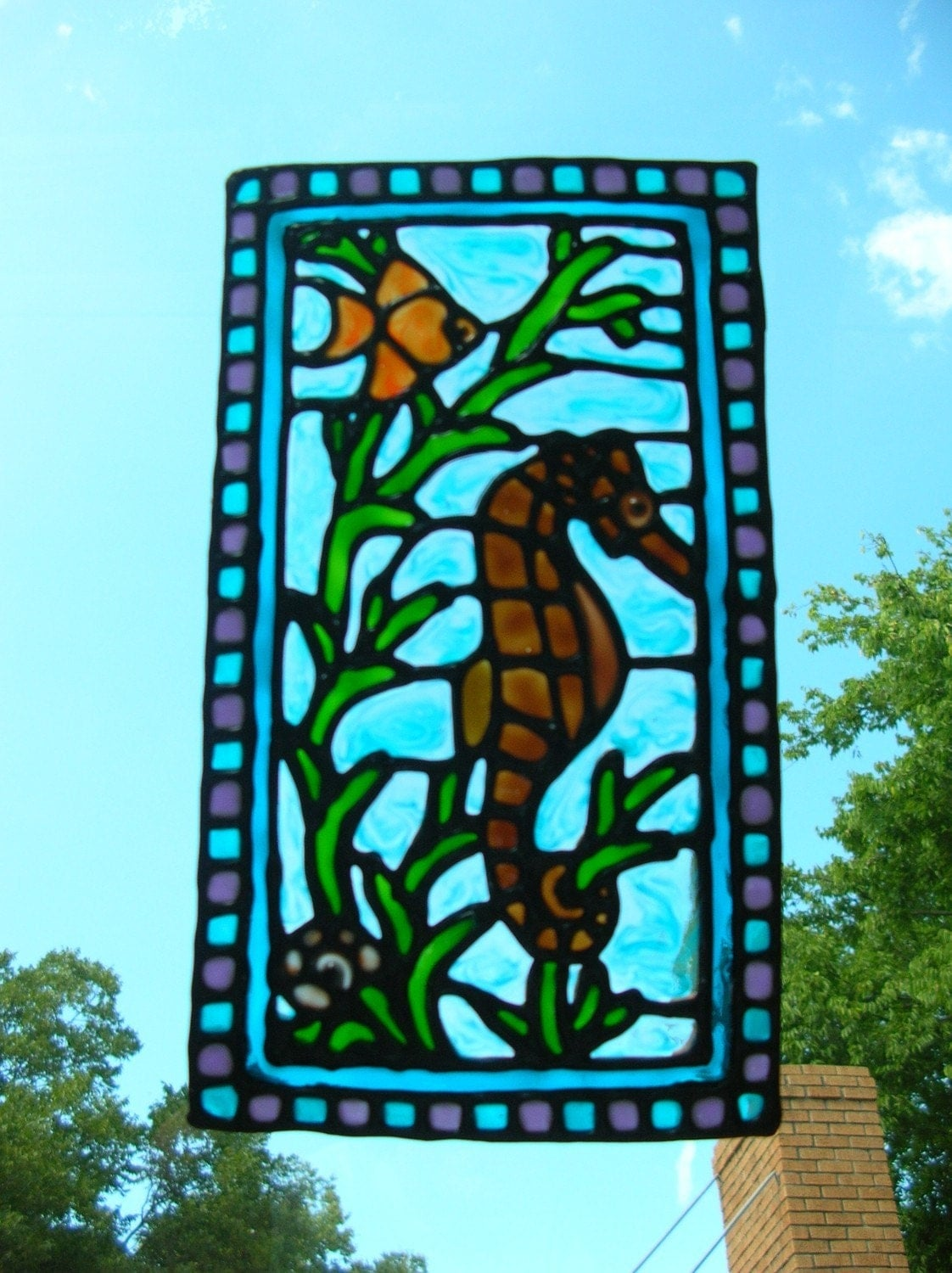 Seahorse fish nautical stained glass window by windows2thesoul