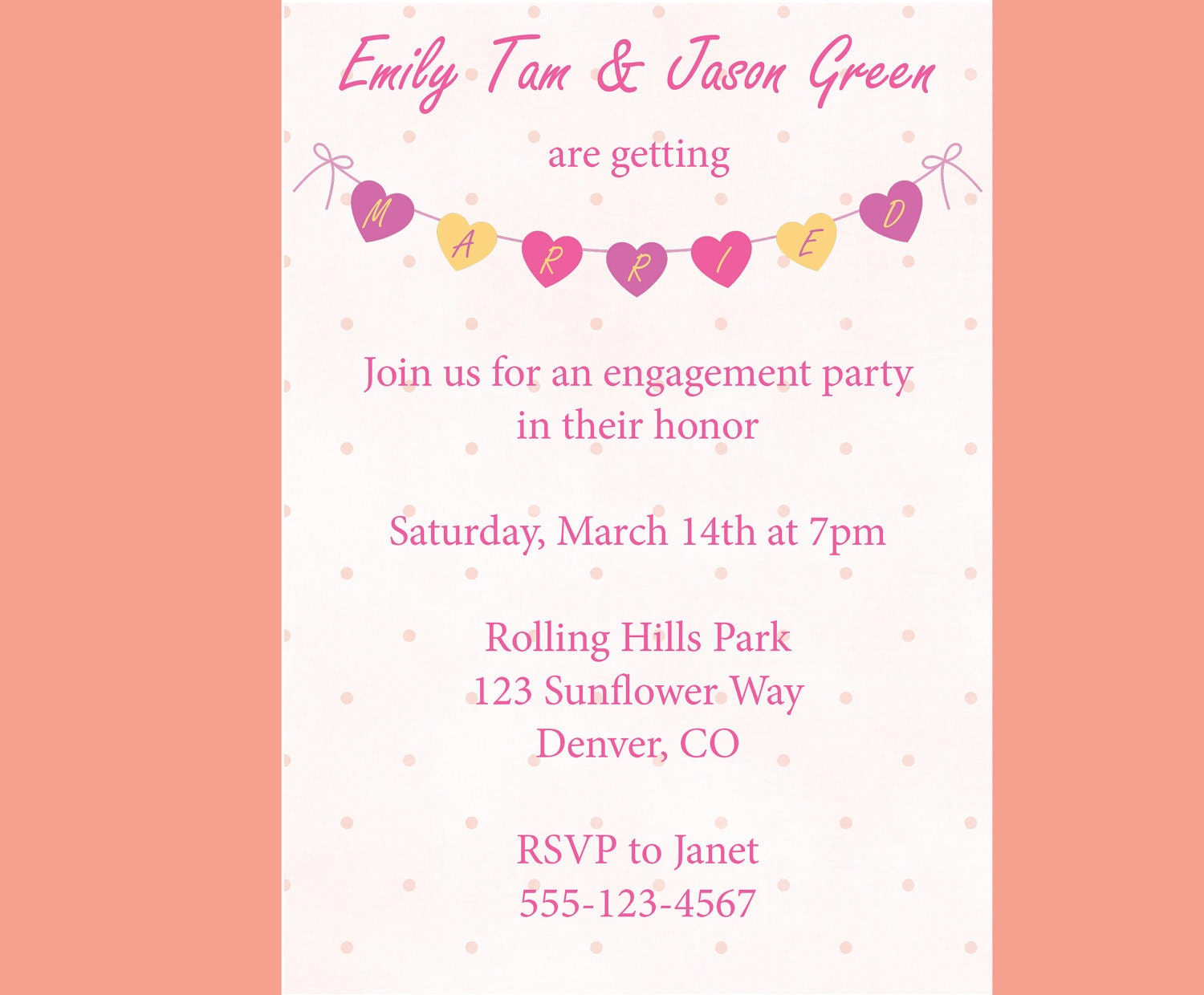 Items similar to engagement party invitation heart banner for Etsy engagement party invites