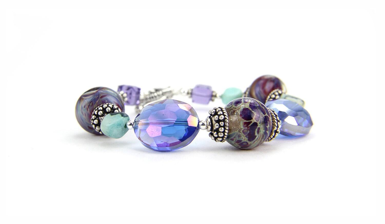 Blue, Purple Olive Aquamarine Lampwork Gemstone Sterling Silver Crystal Bracelet:  Venice