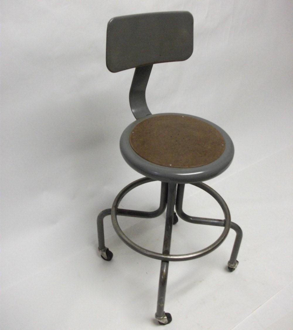 50s vintage industrial rolling drafting stool