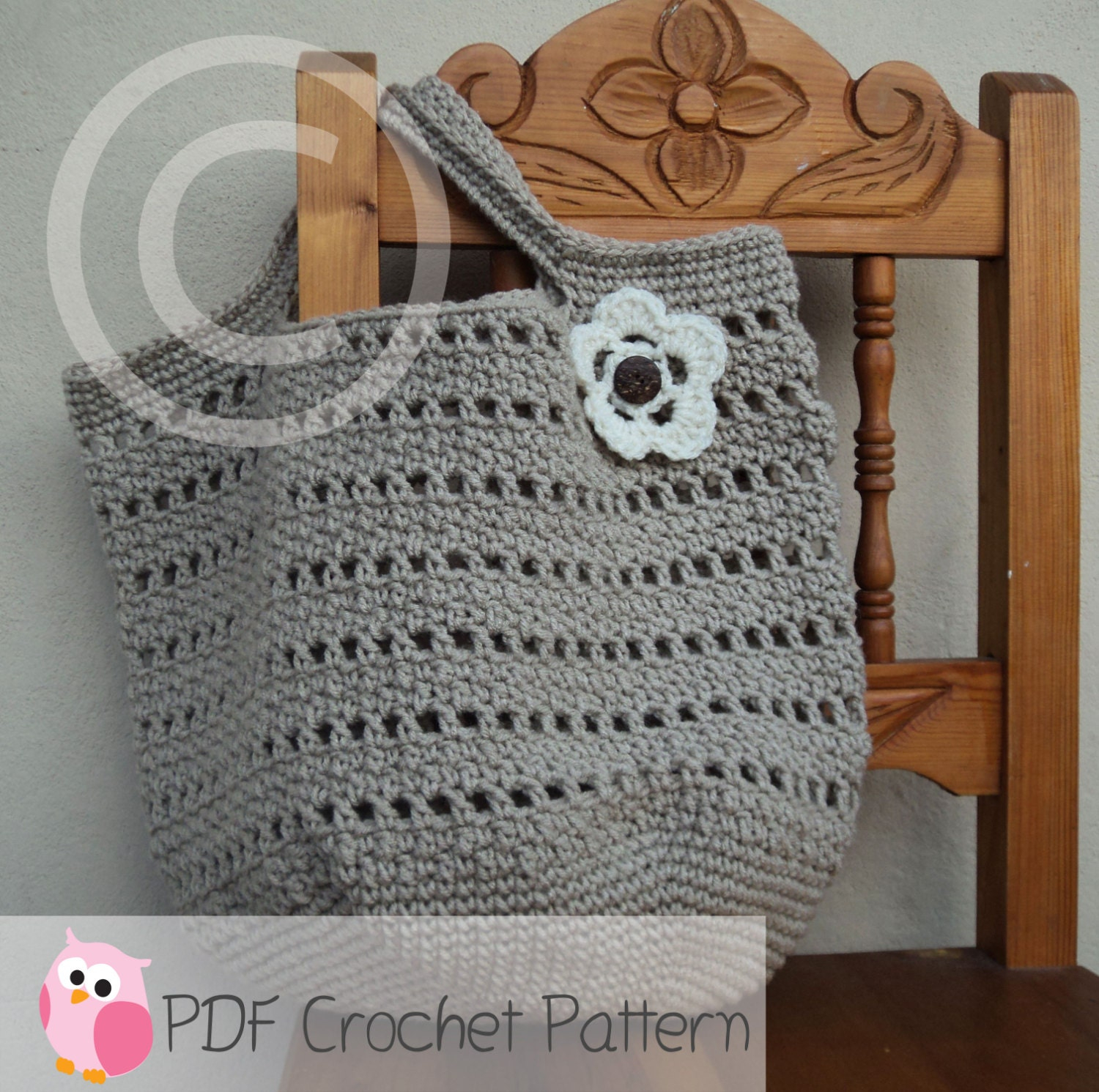 Beach Bag Crochet : Market Bag Beach Bag Crochet Pattern Digital by CuteLittleCrafts