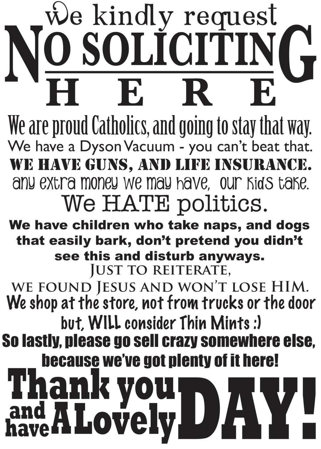 It is a graphic of Universal Funny No Soliciting Sign Printable