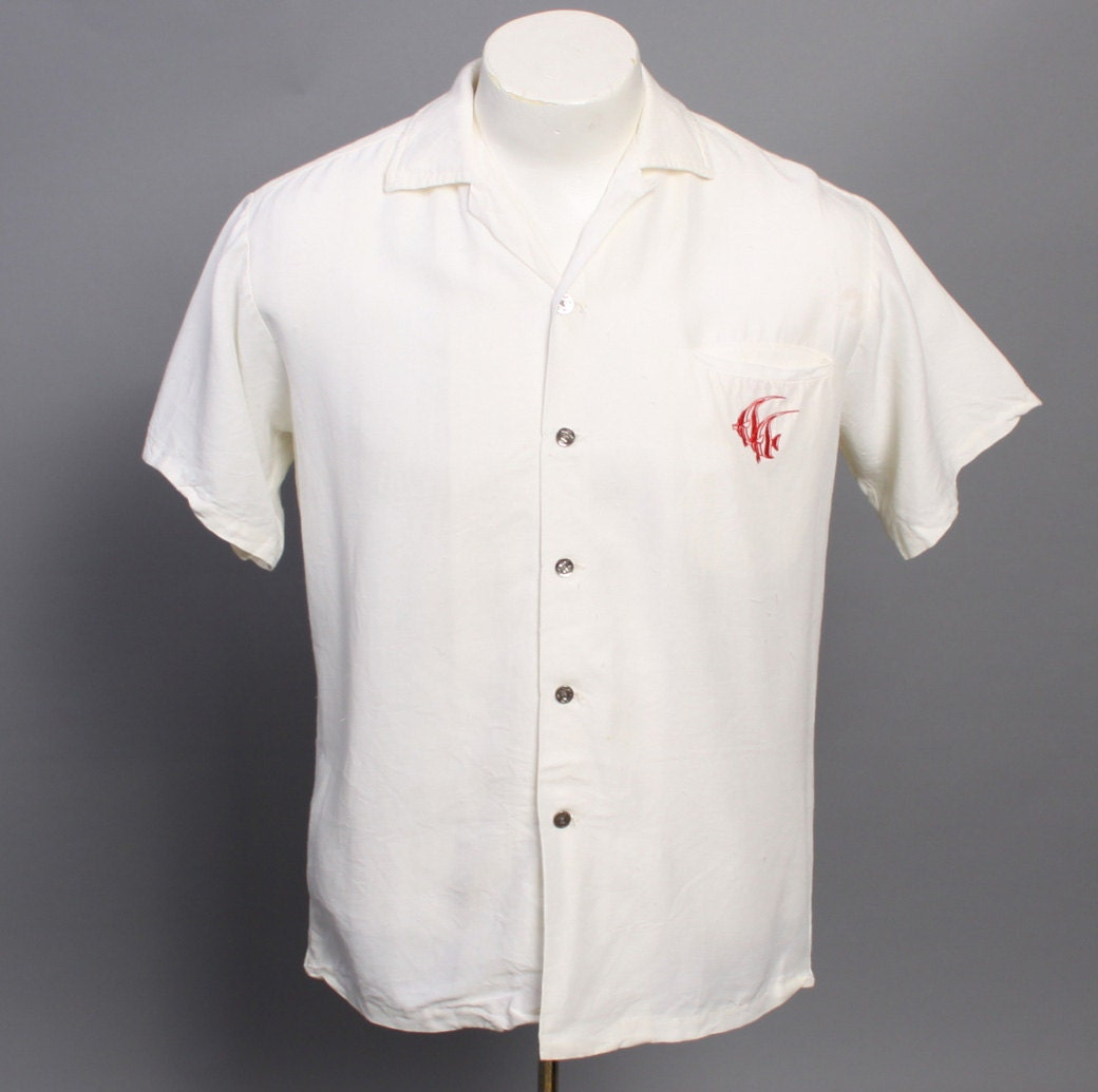 Items similar to 50s embroidered fish mens shirt for Embroidered fishing shirts