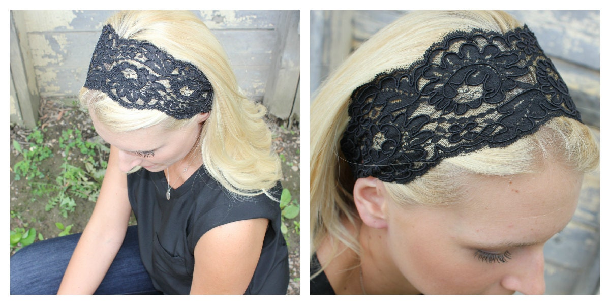Large Black Lace Headband