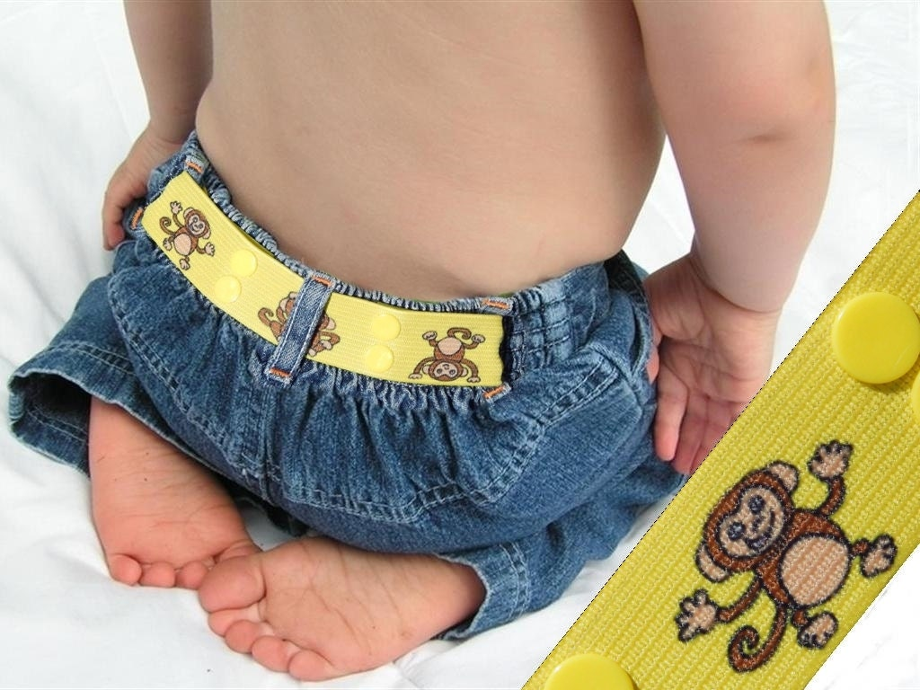 "Kids Belt - ""Monkey Around"" - Elastic Snap Belt - LittleTadpoleDesigns"
