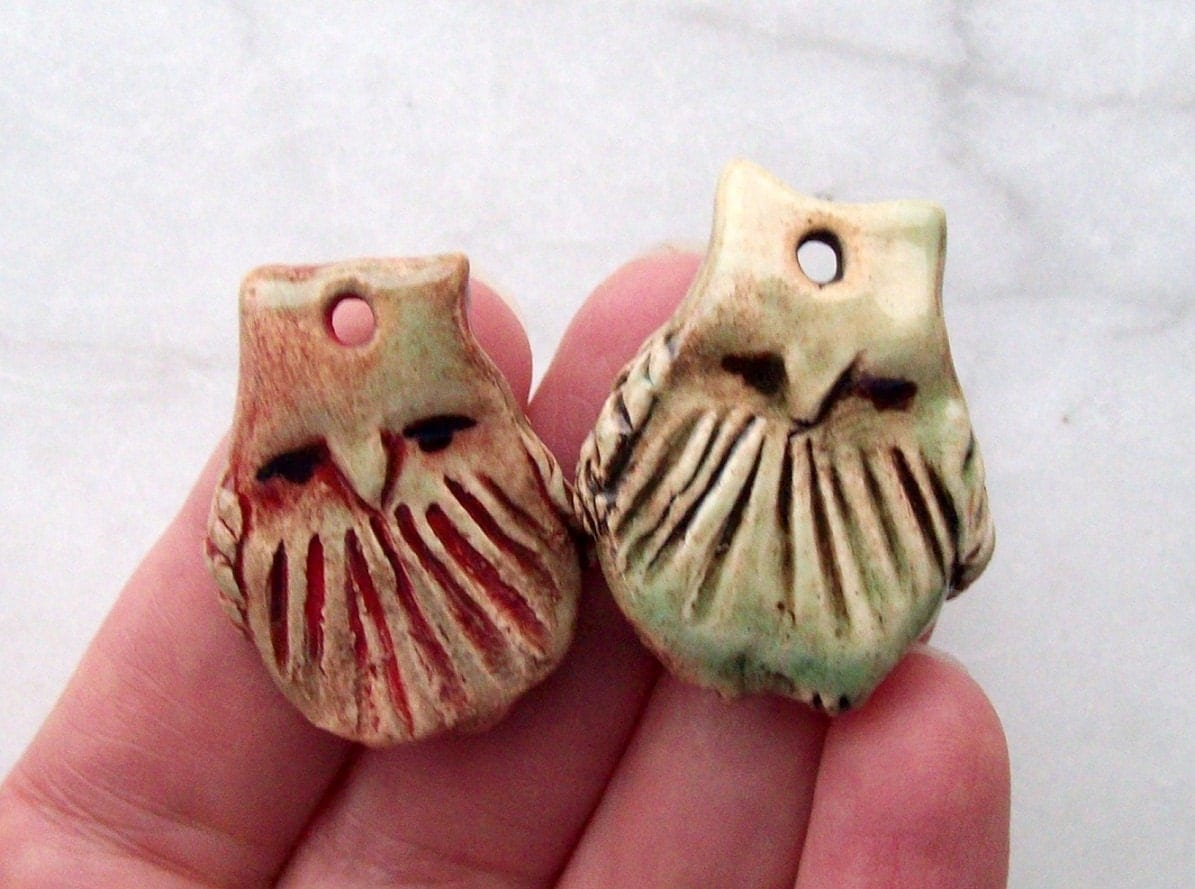 Owl Pendant Beads Set of two Handmade ceramic Jewelry