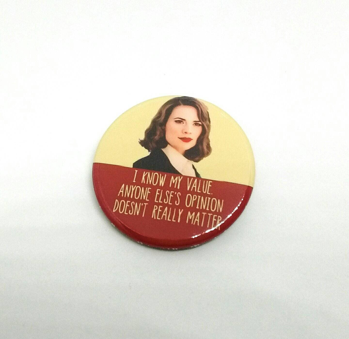 Agent Peggy Carter  I know my value    Badge  BadgesFridge Magnets  Quotes  Agent Carter